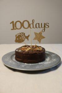 100日祝いのケーキの写真